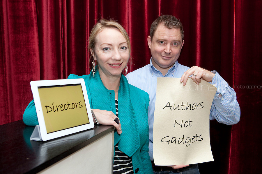 """NO REPRO FEE. 14/4/2011. Authors not Gadgets. Pictured are Juanita Wilson, Oscar nominated Irish filmmaker (The Door, As If I Am Not There) and Darragh O'Connell, Oscar Nominated Brownbag Films based in Dublin (""""Octonauts"""").The Screen Directors Guild of Ireland (SDGI) welcomed a large number of directors and writers from across the globe to a high-profile international conference in The Morrison Hotel, Dublin today. The conference has a particular focus on the issue of authors' rights as many directors and writers are struggling to have their voices heard amidst the technological clatter and noise. Picture James Horan/Collins Photos"""
