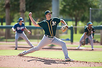 Oakland Athletics relief pitcher Charlie Cerny (78) delivers a pitch during an Instructional League game against the Los Angeles Dodgers at Camelback Ranch on October 4, 2018 in Glendale, Arizona. (Zachary Lucy/Four Seam Images)