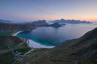 Twilight over Haukland and Vik beaches, Vestvågøy, Lofoten Islands, Norway
