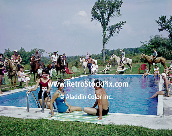 Happy Days Ranch. Horses standing around the pool.