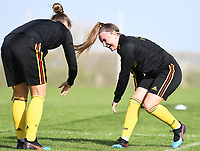 20190226 - LARNACA , CYPRUS :  Belgian Davinia Vanmechelen pictured having fun during a Matchday -1 training from The Belgian Red Flames prior to their game against the women team of Slovakia , on Tuesday 26 February 2019 at the Alpha Sports Grounds in Larnaca , Cyprus . This will be the first game in group C for Belgium during the Cyprus Womens Cup 2019 , a prestigious women soccer tournament as a preparation on the European Championship 2021 qualification duels. PHOTO SPORTPIX.BE | DAVID CATRY