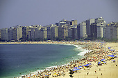 Rio de Janeiro, Brazil.  Copacabana beach with lots of people bathing.