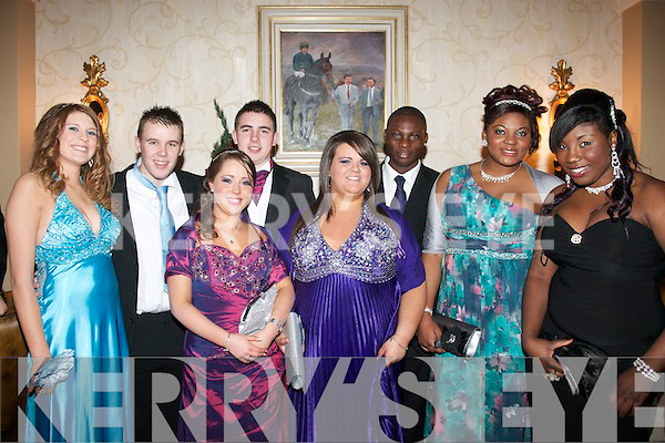 Enjoying their Debs Ball are students from MountHawk secondary school,Tralee last Friday night at the AbbeyGate hotel,L-R Vivane Stokoe,Josh Lowhan,Natasha O'Callighan,Tony Cunningham,Alison Howard,Seun&Ebun Osinubi and Mistura Bama..