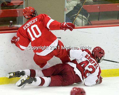 Patrick Kennedy (Cornell - 10), Brendan Rempel (Harvard - 42) - The visiting Cornell University Big Red defeated the Harvard University Crimson 2-1 on Saturday, January 29, 2011, at Bright Hockey Center in Cambridge, Massachusetts.