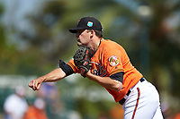 Baltimore Orioles relief pitcher Andrew Triggs (74) delivers a pitch during a Spring Training game against the Minnesota Twins on March 7, 2016 at Ed Smith Stadium in Sarasota, Florida.  Minnesota defeated Baltimore 3-0.  (Mike Janes/Four Seam Images)