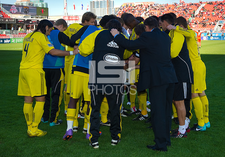October 16 2010  The Columbus Crew huddle just before the start of a game between the Columbus Crew and Toronto FC at BMO Field in Toronto..The final score was a 2-2 draw.