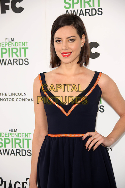 SANTA MONICA, CA - March 01: Aubrey Plaza at the 2014 Film Independent Spirit Awards Arrivals, Santa Monica Beach, Santa Monica,  March 01, 2014. Credit: Janice Ogata/MediaPunch<br /> CAP/MPI/JO<br /> &copy;JO/MPI/Capital Pictures