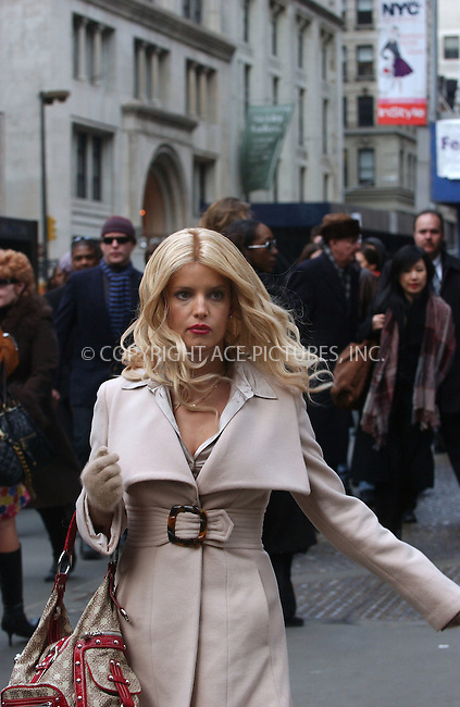 WWW.ACEPIXS.COM...........March 1 2007, New York City....Actress Jessica Simpson on the set of her latest movie 'Blond Ambition' directed by Scott Marshall. In this romatic comedy Simpson playes a young professional woman who unwittingly becomes involved in a plot to oust the head of a major international company.....Please byline: KRISTIN CALLAHAN/ACEPIXS.COM....For information please contact Philip Vaughan:..tel: 646 769 0430..e-mail: info@acepixs.com..website: www.acepixs.com