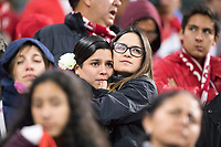 YEKATERINBURG, RUSSIA - June 21, 2018: Peru fans look worried late in a game against France during a 2018 FIFA World Cup group stage at Yekaterinburg Arena Stadium.