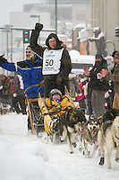 Brent Sass leaves the 2011 Iditarod ceremonial start line in downtown Anchorage, during the 2012 Iditarod..Jim R. Kohl/Iditarodphotos.com