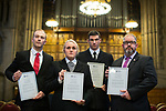 © Joel Goodman - 07973 332324. 05/01/2018. Manchester, UK. PCSO LEWIS BROWN , PC JESSICA BULLOUGH , PCSO MARK RENSHAW and PCSO JON MORREY who were all Highly Commended for their actions on the night . Police officers and railway workers who came to the aid of victims in the wake of the terrorist attack at an Ariana Grande concert at the Manchester Arena in May 2017 are honoured at a commendation ceremony at Manchester Town Hall. Amongst those honoured are officers from British Transport Police and Northern Rail staff . Photo credit : Joel Goodman
