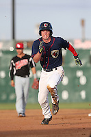 Brett Phillips (6) of the Lancaster JetHawks runs the bases during a game against the High Desert Mavericks at The Hanger on May 19, 2015 in Lancaster, California. Lancaster defeated High Desert, 8-7. (Larry Goren/Four Seam Images)