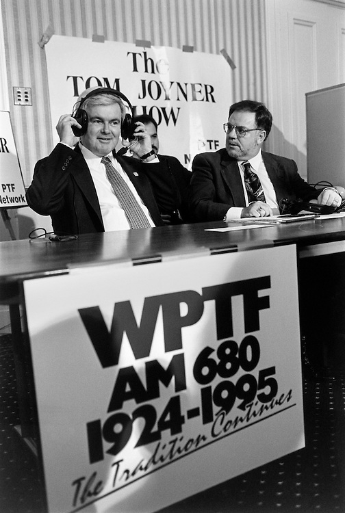 "Speaker of the House Rep. Newton Leroy ""Newt"" Gingrich, R-Ga., on a radio talk show. 1995 (Photo by Laura Patterson/CQ Roll Call)"