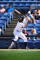 Binghamton Rumble Ponies second baseman Luis Guillorme (3) at bat during a game against the Hartford Yard Goats on July 9, 2017 at NYSEG Stadium in Binghamton, New York.  Hartford defeated Binghamton 7-3.  (Mike Janes/Four Seam Images)