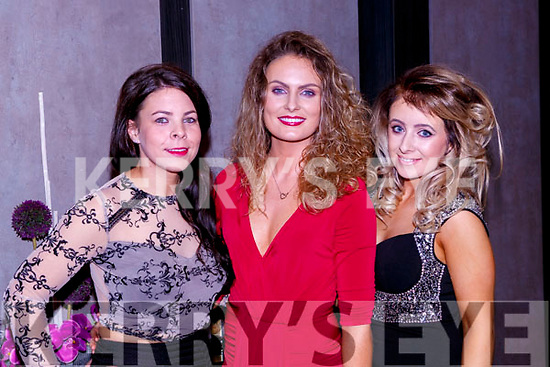 Claire Walsh Tralee, Dawn Lynch Caherciveen and Niamh McCarthy Cork at the O'Sé brothers testimonial in aid of An Gaelteacht field fund in the INEC on Friday night