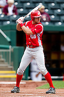 Bob Schuch (28) of the Bradley Braves at bat during a game against the Missouri State Bears on May 13, 2011 at Hammons Field in Springfield, Missouri.  Photo By David Welker/Four Seam Images