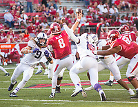 TCU Horned Frogs vs Arkansas Razorbacks –Austin Allen (8) of the Razorbacks gets pressured by Santos Ramirez (9) of Horned Frogs at Donald W. Reynolds Razorback Stadium, University of Arkansas,  Fayetteville, AR, on Saturday, September 9, 2017,  © 2017 David Beach