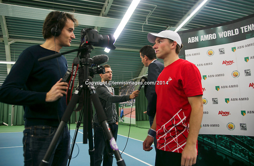 19-01-14,Netherlands, Rotterdam,  TC Victoria, Wildcard Tournament, ,   Final,  Alban Meuffels (NED) being interviewed, in the background is tournament director Richard Krajicek interviews.<br /> Photo: Henk Koster