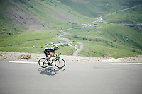 Jesús Herrada (ESP/Movistar) coming down fast over the top of the Col du Tourmalet (HC/2115m/17.1km/7.3%)<br /> <br /> 2014 Tour de France<br /> stage 18: Pau - Hautacam (145km)