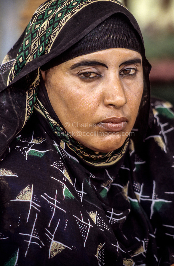 Oman.  Woman from Masirah  Wearing Headscarf.