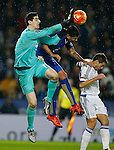 Thibaut Courtois of Chelsea clears under pressure from Leonardo Ulloa of Leicester City - English Premier League - Leicester City vs Chelsea - King Power Stadium - Leicester - England - 14th December 2015 - Picture Simon Bellis/Sportimage