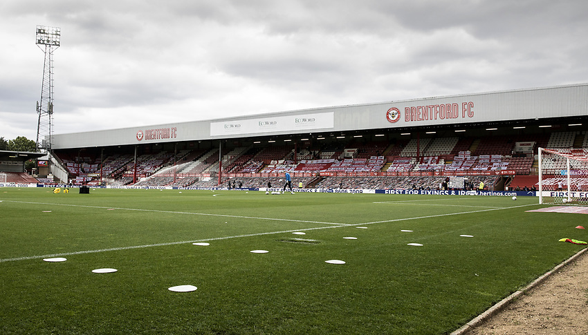 A general view of the Griffin Park stadium<br /> <br /> Photographer Andrew Kearns/CameraSport<br /> <br /> The EFL Sky Bet Championship - Brentford v Preston North End - Wednesday 15th July 2020 - Griffin Park - Brentford <br /> <br /> World Copyright © 2020 CameraSport. All rights reserved. 43 Linden Ave. Countesthorpe. Leicester. England. LE8 5PG - Tel: +44 (0) 116 277 4147 - admin@camerasport.com - www.camerasport.com