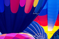 Overlapping Hot Air Balloons Ready to Launch (one with Burners On)