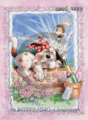 Ron, CUTE ANIMALS, paintings, dog, hedgehog, champag(GBSG7859,#AC#) illustrations, pinturas ,everyday