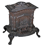 BCLM.1981.26.1 <br /> Stove. <br /> Ca. 1851.<br /> Cast iron<br /> Designed by Wagner, Pratt & Company.<br /> S.B. Sexton Company, Baltimore.<br /> Baltimore City Life Museum Collection<br /> Museum Department