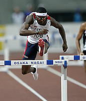 Bershawn Jackson ran 48.87 in the 1st. round of the 400m hurdles on Saturday, August 25, 2007. Photo by Errol Anderson,The Sporting Image.