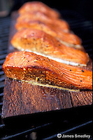 Roasted plank cooked fish
