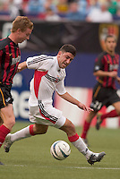 D.C. United's Alecko Eskandarian is marked by MetroStars' Chris Leitch. D. C. United was defeated by the NY/NJ MetroStars 3 to 2 during the MetroStars home opener at Giant's Stadium, East Rutherford, NJ, on April 17, 2004.