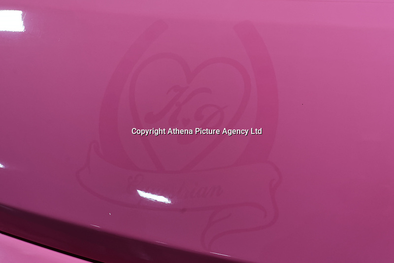 "Pictured: A Katie Price crest on the hood of the pink Fiat Ducato horsebox once owned by tv personality Katie Price.<br /> Re: A pink horsebox owned by Katie Price is up for grabs at auction after failing to sell on eBay.<br /> The 2012 registered Fiat Ducato is instead listed on the John Pye online auction site and is now at the company's depot in Port Talbot, south Wales.<br /> The vehicle has only covered 7,000 miles, with additional features EQUI-TREK SUPER SONIC HORSE BOX CARRIER.<br /> Previously owned by Model/TV celebrity Katie Price<br /> 3.5 t finished paint work in Pink by Kahn.<br /> 2 Horse carrier.<br /> Cream Leather interior.<br /> Tachograph.<br /> Aircon.<br /> Grooms Locker.<br /> Extra height partition.<br /> Skylight Roof Vent.<br /> Internal Lighting.<br /> Tinted windows.<br /> Tie Rings on external.<br /> Internal and rear reversing cameras.<br /> wireless camera system with 7"" screen"