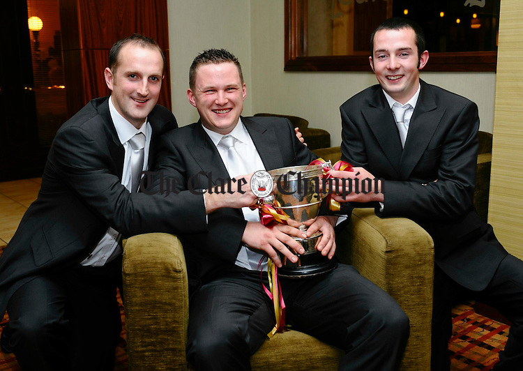 Cian Mc Inerney, Eanna Torpey and Eugene Cooney  pictured at the Tulla GAA victory social in the West County Hotel. Photograph by John Kelly.