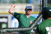 Fort Wayne TinCaps pitching coach Burt Hooton (26) during practice before a game against the Great Lakes Loons on August 19, 2013 at Dow Diamond in Midland, Michigan.  Great Lakes defeated Fort Wayne 12-5.  (Mike Janes/Four Seam Images)