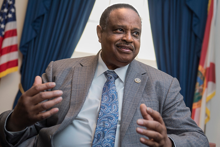 UNITED STATES - MARCH 2: Rep. Al Lawson, D-Fla., is interviewed in his Longworth Building office, March 2, 2017. (Photo By Tom Williams/CQ Roll Call)