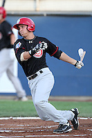 Vancouver Canadians third baseman Andy Burns #32 bats against the Yakima Bears at Yakima County Stadium on August 11, 2011 in Yakima,Washington. Yakima defeated Vancouver 3-1.(Larry Goren/Four Seam Images)