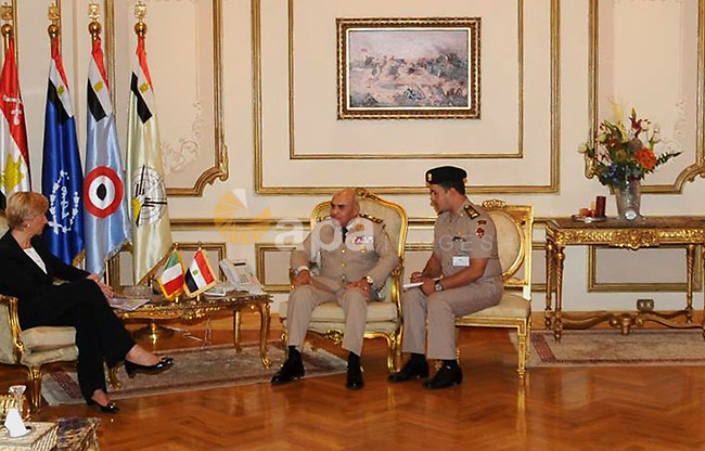 General Commander of the Armed Forces Sedky Sobhy meets with Italian Defense Minister Roberta Benoty in Cairo, Egypt Nov. 01, 2014. Photo by Armed Forces