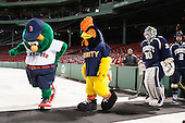 Wally the Green Monster, the Trinity Bantam, Ben Coulthard (Trinity - 30), Greg Rooney (Trinity - 2) - The Williams College Ephs defeated the Trinity College Bantams 4-2 (EN) on Tuesday, January 7, 2014, at Fenway Park in Boston, Massachusetts.
