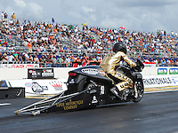 Mar. 9, 2012; Gainesville, FL, USA; NHRA pro stock motorcycle rider Michael Ray during qualifying for the Gatornationals at Auto Plus Raceway at Gainesville. Mandatory Credit: Mark J. Rebilas-