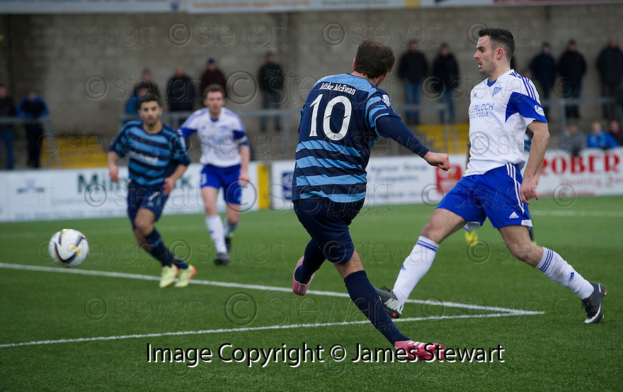 Forfar's Gavin Swankie scores their second goal.