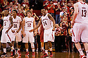 December 3, 2012: Nebraska Cornhuskers are happy with their hot streak during the first half against the USC Trojans at the Devaney Sports Center in Lincoln, Nebraska. Nebraska defeated USC 63 to 51.
