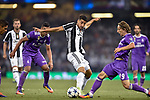 Sami Khedira of Juventus and Luka Modric of Real Madrid during the UEFA Champions League Final match between Real Madrid and Juventus at the National Stadium of Wales, Cardiff, Wales on 3 June 2017. Photo by Giuseppe Maffia.<br /> <br /> Giuseppe Maffia/UK Sports Pics Ltd/Alterphotos