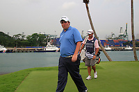 Shane Lowry (IRL) walks off the 7th tee during Friday's resumed Round 2 of the 2011 Barclays Singapore Open, Singapore, 11th November 2011 (Photo Eoin Clarke/www.golffile.ie)