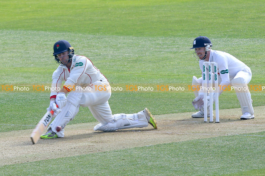 Steven Croft in batting action for Lancashire as Adam Wheater looks on from behind the stumps during Essex CCC vs Lancashire CCC, Specsavers County Championship Division 1 Cricket at The Cloudfm County Ground on 7th April 2017