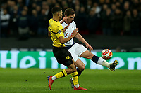 Jan Vertonghen of Tottenham Hotspur and Achraf Hakimi of Borussia Dortmund during Tottenham Hotspur vs Borussia Dortmund, UEFA Champions League Football at Wembley Stadium on 13th February 2019