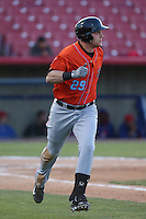 Michael Snyder (29) of the Inland Empire 66ers runs to first base during a game against the High Desert Mavericks at Mavericks Stadium on May 6, 2015 in Adelanto, California. Inland Empire defeated High Desert, 10-4. (Larry Goren/Four Seam Images)