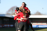 The team celebrate Lauren James of Manchester United Women goal in the second half with during Brighton & Hove Albion Women vs Manchester United Women, SSE Women's FA Cup Football at Broadfield Stadium on 3rd February 2019