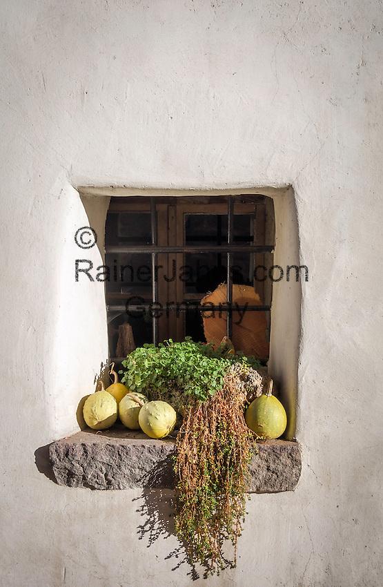 Italy, Alto Adige-Trentino (South Tyrol), Appiano sulla Strada del Vino - district Cornaiano: window | Italien, Suedtirol (Alto Adige-Trentino), Eppan - Girlan: Fenster