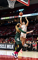 COLLEGE PARK, MD - FEBRUARY 03: Shakira Austin #1 of Maryland shoots over Kayla Belles #42 of Michigan State during a game between Michigan State and Maryland at Xfinity Center on February 03, 2020 in College Park, Maryland.